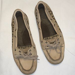 Speedy Top Sider Laguna Linen cheetah boat shoes